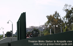 The acropolis distance increases   at the Thession station over monastiraki